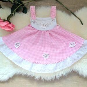 Vintage Inspired PinkGinham Pattern Baby Dress